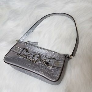 Guess Silver Scale Alligator Reptile Mini Bag Purs